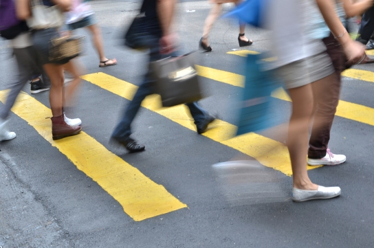 crosswalk and pedestrian at street in hong kong
